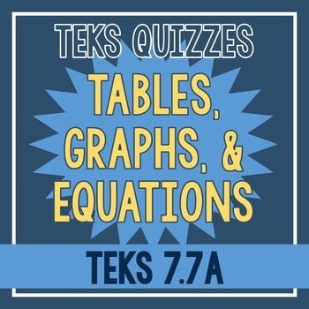 Tables, Graphs, and Equations Quiz (TEKS 7.7A)