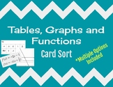 Tables, Graphs and Functions Card Sort