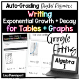 Tables & Graphs of Exponential Functions- Google Forms Digital Assignment