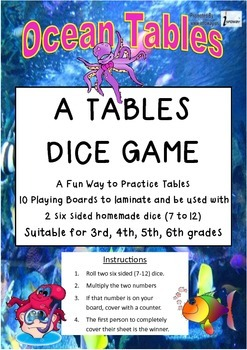 Tables Practice - Ocean Tables : A Dice Game