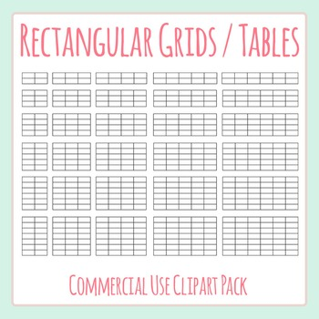 Tables Templates / Rectangular Grids Blank Clip Art Pack for Commercial Use