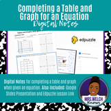 Tables and Graphs with Equation Digital Notes   Distance e