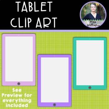 Tablet Clipart (IPad) - 10 colors - 300 dpi