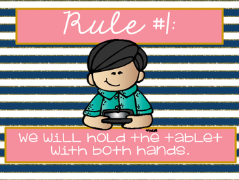 Tablet Rules: Pink, Navy and Gold