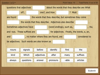 Tablet Tutor Mini Lesson:  Language Lab, Identify Adjectives
