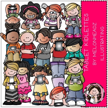 Tablet kidlettes clip art - COMBO PACK- by Melonheadz