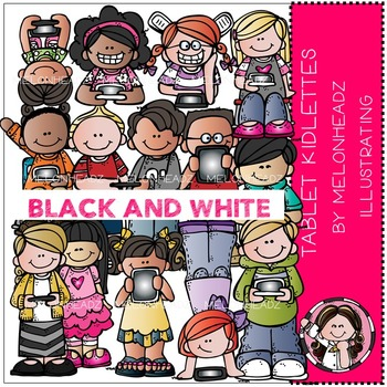 Tablet kidlettes clip art - BLACK AND WHITE- by Melonheadz
