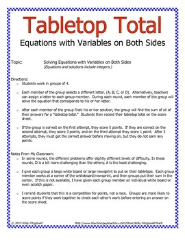 Tabletop Total: Equations with Variables on Both Sides