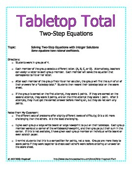 Tabletop Total: Two-Step Equations with Integers