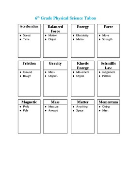 Taboo 6th Grade (Physical Science)