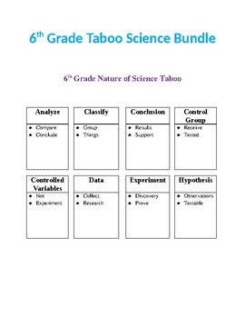 Taboo 6th Grade Science Bundle