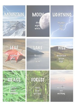 Nature 40 Taboo Flash Cards ESL