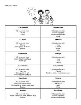 Taboo Family Vocabulary Game Spanish 3, 4, IB, AP Circumlocution