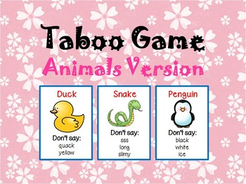 Taboo Game - Animals