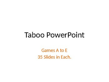 Taboo Game Powerpoint
