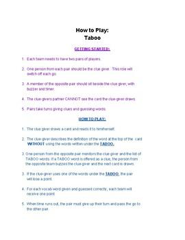 Sadlier-Oxford Level B Unit 2 Vocabulary: Taboo Game