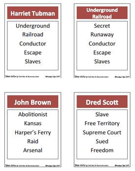 Taboo History Vocabulary Game: U.S. Civil War & Reconstruction Edition