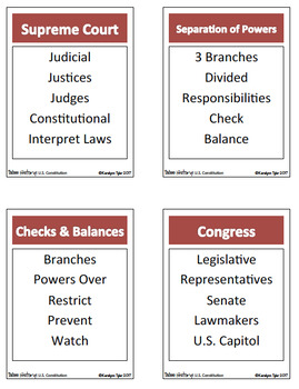 Taboo History Vocabulary Game: U.S. Constitution Edition