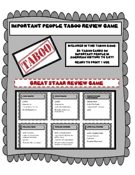 Taboo - Important People in American History - 1877 - STAAR Review