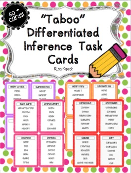 """Taboo"" Inference Task Cards and Center!"