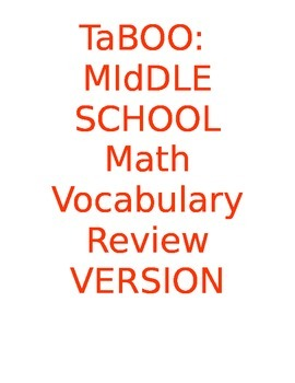 Taboo: Middle School Math Vocabulary