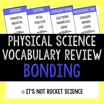 Physical Science Vocabulary Review Game - Bonding