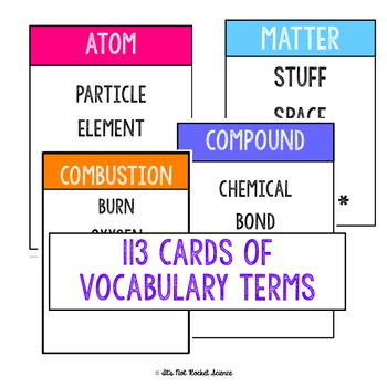 Physical Science Vocabulary Review Game - Chemistry BUNDLE