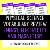 Physical Science Vocabulary Review Game - Energy, Electricity and Magnets
