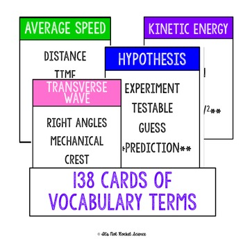 Physical Science Vocabulary Review Game - Physics BUNDLE