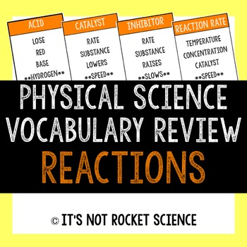 Physical Science Vocabulary Review Game - Reactions