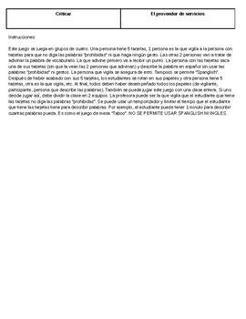 Taboo Technology Vocabulary Game Spanish 3, 4, IB, AP Circumlocution