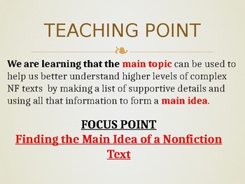 Tackling Nonfiction Text Main idea