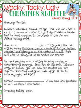 Wacky, Tacky, Ugly Christmas Sweater Event Pack, Literacy & Writing Activities