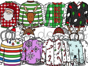 Tacky Christmas Sweater Digital Clip Art Set- Color and Black Line COMBO