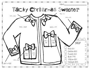 **Tacky Christmas Sweater Math Color by Number for GRADES 3-5