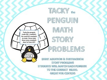 Tacky the Penguin Addition and Subtraction Story Problems