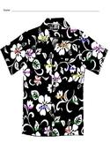 Tacky the Penguin - Color by color word Hawaiian shirt