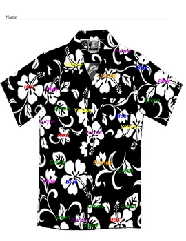 Tacky the Penguin - Color by color word Hawaiian shirt