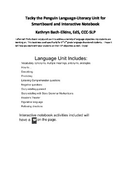 Tacky the Penguin Language-Literacy Unit for Smartboard an