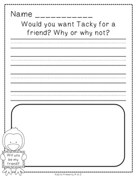 Tacky the Penguin Comprehension Activities
