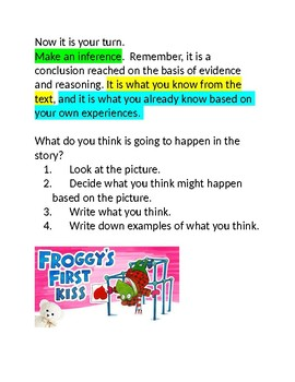 Tacky the Penguin and Froggy's First Kiss Making Inferences Booklet