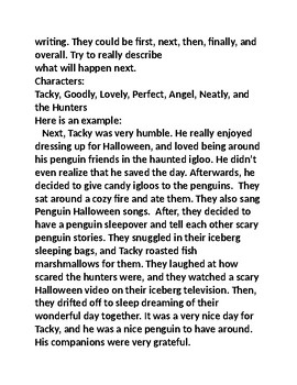 Tacky the Penguin and the Haunted Igloo Third Person Writing Activity for PARCC