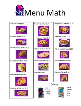 picture relating to Taco Bell Printable Application called Taco Bell Menu Math