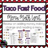 Taco Fast Food Menu Math Unit