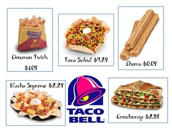 Taco Bell Menu Money Math Center