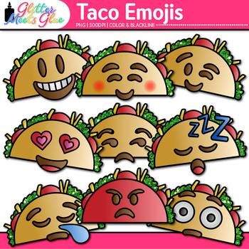 Taco Emoji Clip Art | Cinco de Mayo Emoticons and Smiley Faces for Teachers