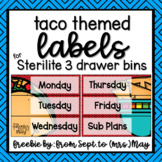Taco / Fiesta Themed 3 Drawer Sterilite Labels - FREEBIE