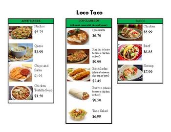 Taco Menu Math- locating prices on a menu