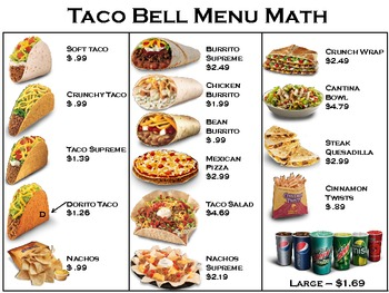 Taco Restaurant Menu Math
