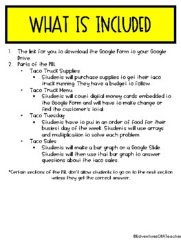 Taco Truck Digital PBL (via Google Forms)
